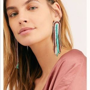 NWT Free People Dance Hall Earrings Red /Turquoise